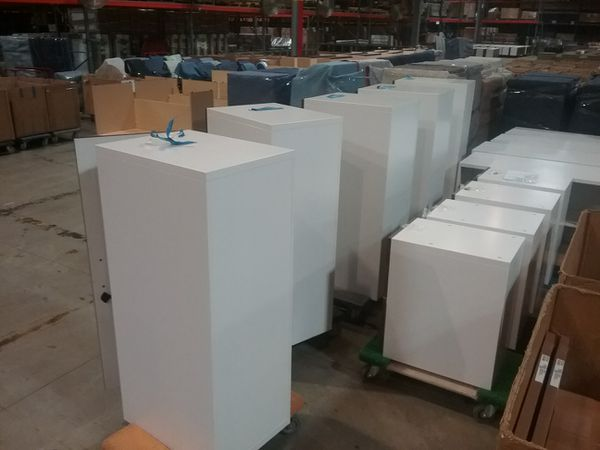 Closet all white metal cabinet with wood front