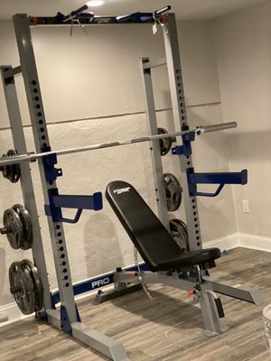Home Gym Total Package Half Rack, Bench, weights, barbell, EZ curl for Sale in Philadelphia, PA