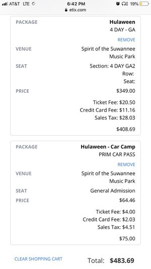 Hulaween 4 day GA ticket with camping parking pass for Sale in Loxahatchee, FL