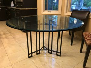 beautiful 6 seat glass table, iron base. for Sale in Chula Vista, CA