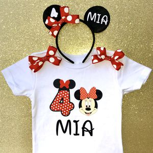 Personalized Red Polkadot Minnie Mouse Shirt & Headband Ears for Sale in Long Beach, CA