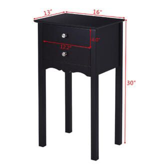 Side Table End Accent Table w/ 2 Drawers - Black