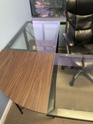 Modern glass & wood L shape desk for Sale in McLean, VA