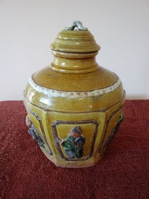 """Asian ginger jar. Influence and circa unknown; priced based on current market. Approx 36"""" round x 15"""" tall. Appears to be hand kilned. for Sale in San Diego, CA"""