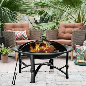 """Brand new 30"""" metal round fire pit outdoor stove BBQ 30 inches tall wood charcoal burning for Sale in Whittier, CA"""