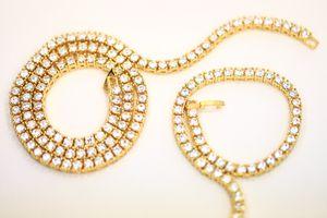 14k Gold Finish Tennis Chain w Bracelet for Sale in Dallas, TX