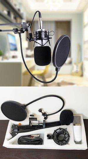 (NEW) $30 Condenser Microphone Kit Studio Recording w/ Pro Filter Boom Arm Stand Shock Mount for Sale in Whittier, CA