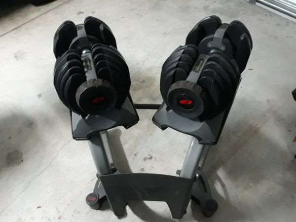 Soloflex adjustable dumbbells with stand