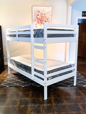 BRAND NEW TWIN OVER TWIN BUNK AND MATTRESS (FREE DELIVERY) for Sale in Fort Worth, TX