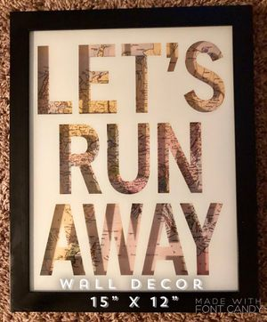 Super Cute Travel Lets Run Away Wall Art Decor for Sale in Maple Grove, MN