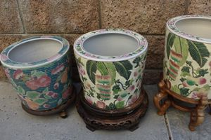 3 Vintage Chinese Porcelain Flower Pots with Stands for Sale in Chino Hills, CA