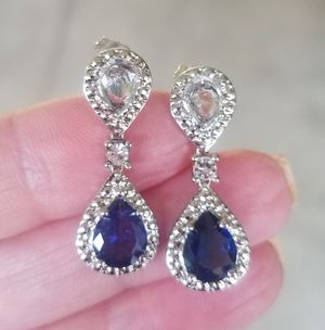 Blue and white sapphire tear drop earrings for Sale in Riverside, CA