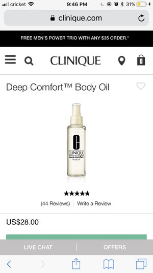 Clinique Deep Comfort Body Oil 4.2FL oz for Sale in Germantown, MD
