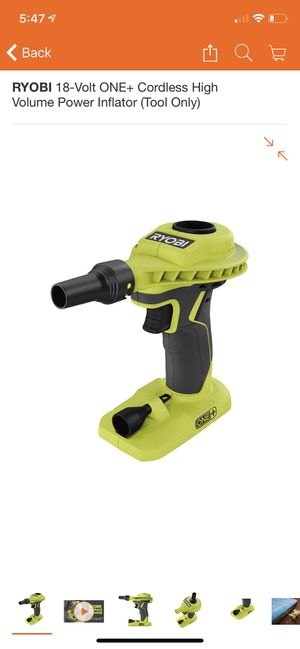 RYOBI 18-Volt ONE+ Cordless High Volume Power Inflator (Tool Only) for Sale in Santa Monica, CA