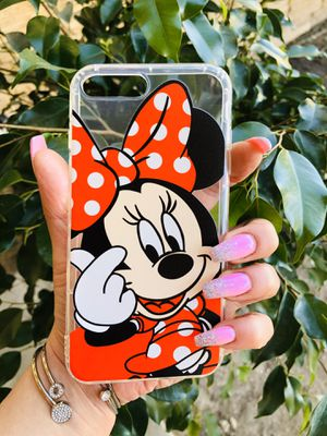 Brand new cool iphone 7+ or 8+ PLUS case cover rubber Clear transparent see through Minnie Mouse red cute pretty girls womens disneyland disney for Sale in San Bernardino, CA