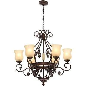 Hampton Bay Freemont Collection 6-Light Hanging Antique Bronze Chandelier with Glass Shades for Sale in Port St. Lucie, FL