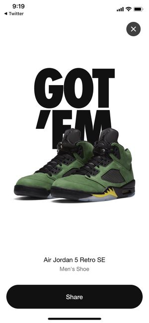 Jordan 5 Retro SE Oregon Ducks Size 11.5 M for Sale in Portland, OR
