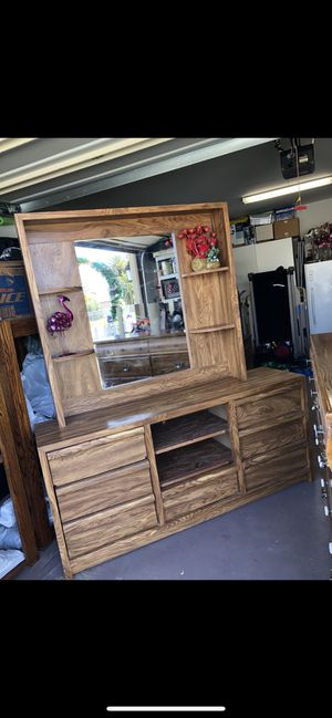 Great dresser brown with drawers, shelve and mirror for Sale in National City, CA