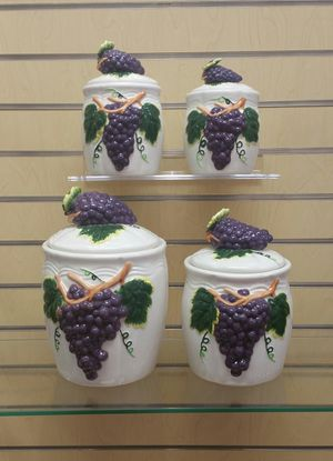 4pc Ceramic Kitchen Canister set ( new ) purple grapes for Sale in Millcreek, UT