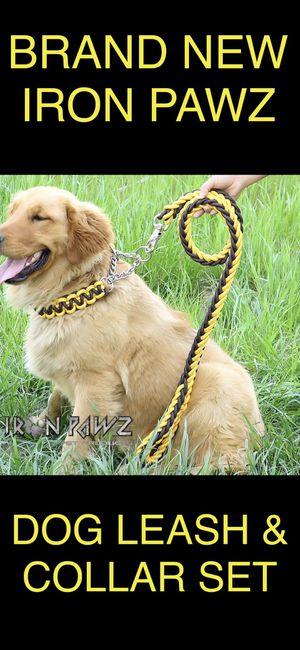 Iron Pawz Heavy Duty Professional Training Dog Leash and Collar Set Brown and Yellow for Sale in Avondale, AZ