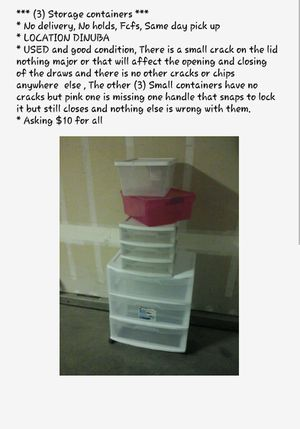 (4) Plastic storage containers $8 for Sale in Dinuba, CA
