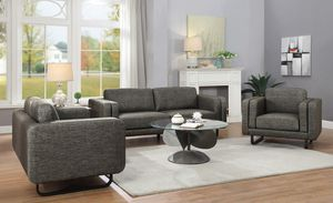 New Winona Modern Contemporary Grey Woven Fabric sofa and love seat set. Brand New!! for Sale in KNG OF PRUSSA, PA