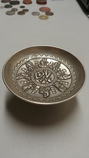 **1880-1910* Rare Tibet Handmade (90% Silver) Antique Guangxu period in Ancient China Dragon pattern plate* D: 3.5 × 1.0 Inches-W: 116 GRAMMS.* for Sale in Brooklyn, NY