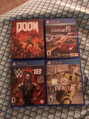 PS4 Games - Project Cars 2, Fifa 17, Doom, WWE 2K18 for Sale in Sanford, FL