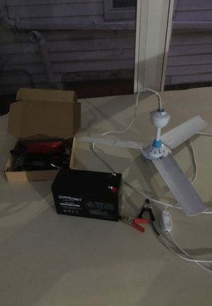 12 V ceiling fan, 12 V rechargeable battery and 12 V automatic trickle battery charger for Sale in Bridgeville, PA