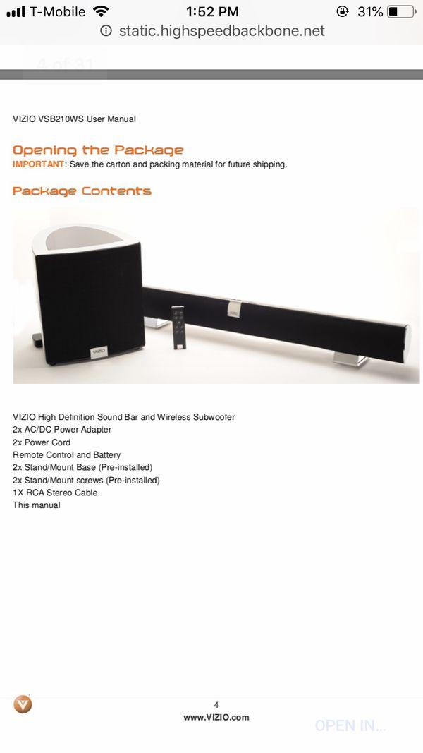 VIZIO SOUNDBAR AND SUBWOOFER (VSB210WS) for Sale in Los Angeles, CA -  OfferUp