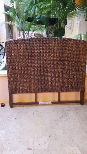 Rattan style twin headboard and metal bedframe for Sale in Miami, FL