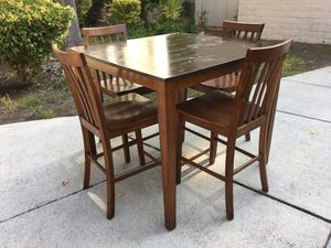 "FREE DELIVERY * KITCHEN DINING SET WOOD TALL TABLE & CHAIRS 3' TALL TABLE 42"" x 42"" for Sale in Palo Alto, CA"