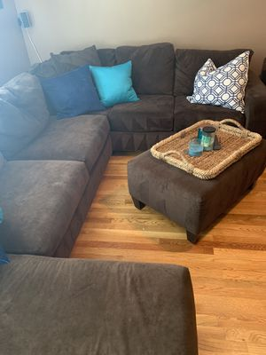 Brown Microfiber Sectional and matching ottoman for Sale in Lincoln, RI