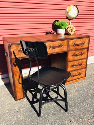 Console table/ 6 drawer desk (restoration hardware style) with industrial chair for Sale in San Diego, CA