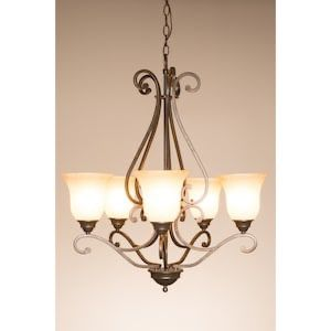 Kichler Exclusives Linkhorn 27-in 5-Light Iron Stone Mediterranean Hardwired Scavo Glass Shaded Chandelier oil rubbed bronze for Sale in Fort Worth, TX