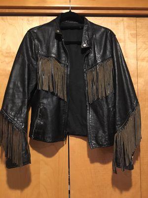 Black fringe leather jacket for Sale in Vancouver, WA