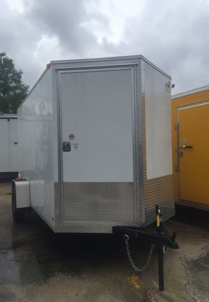 6x12 enclosed v nose cargo / motorcycle / lawn trailer / door in front / 5 year warranty for Sale in Fort Lauderdale, FL