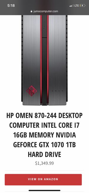 HP Omen 870-244 desktop computer i7 with thx 1070 card (includes razer chroma keyboard and mouse) for Sale in Silver Spring, MD