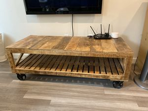 Rustic solid wood media console or coffee table for Sale in Redmond, WA