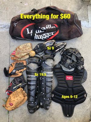 Baseball equipment catcher gear cleats gloves bag mask bats Rawlings for Sale in Culver City, CA