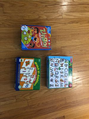 Zingo, Melissa and Doug large alphabet puzzle and Match It Addition game for Sale in Stamford, CT