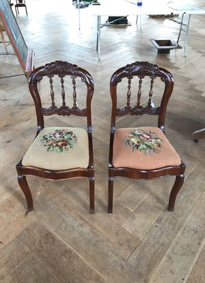 Pair of Antique Carved Needlepoint Chairs for Sale in Atlanta, GA
