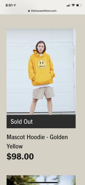 Drew house mascot golden yellow hoodie! 100% Authentic for Sale in Federal Way, WA