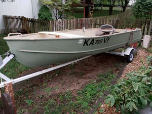 14' V-hull boat with trailer and 18hp Johnson outboard for Sale in Spring Hill, KS