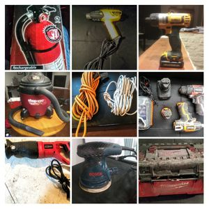 Drills, 18 gall. ShopVac, Toolbox, ext. Cords, sawzall for Sale in Rochester, MN