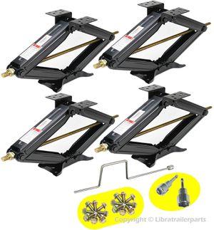 Set of 4 5000lbs RV Trailer Stabilizer Leveling Scissor Jacks w/Handle & Dual Power Drill sockets & mounting Hardware for Sale in Bellevue, WA