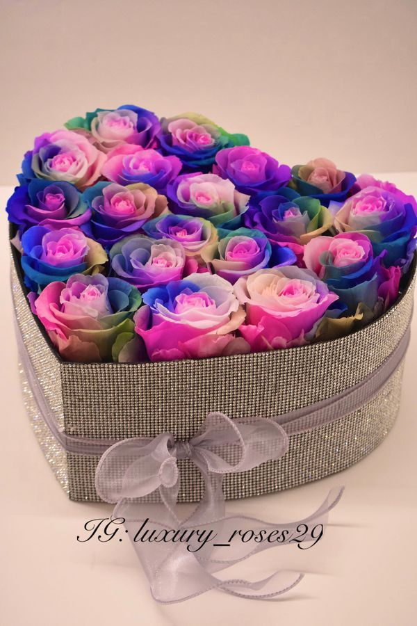 Rainbow Roses Box Roses Tea Preserved Heart Shape Gift Flower Bouquet Thanksgiving Gift Christmas Present Eternal Flowers Rhinestones Shiny Glitter