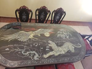 Real wood. Hand craft . Made in Vietnam not China. Antique furniture dining table for Sale in North Las Vegas, NV