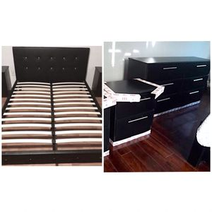 New queen bed frame dresser and nightstand mattress is not included for Sale in Hollywood, FL