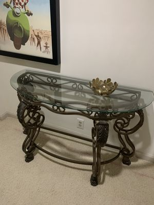 Ironworks Half-Moon Glass Console Table for Sale in Atlanta, GA